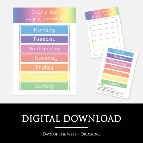 Days of the week ordering mat | Printable learning resource by little boo learning