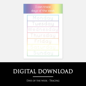 Days of the week tracing mat | Educational learning resources by Little Boo Learning