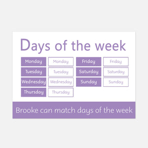 days of the week learning mat for toddlers and pre-schoolers. little boo learning. learn explore and have fun