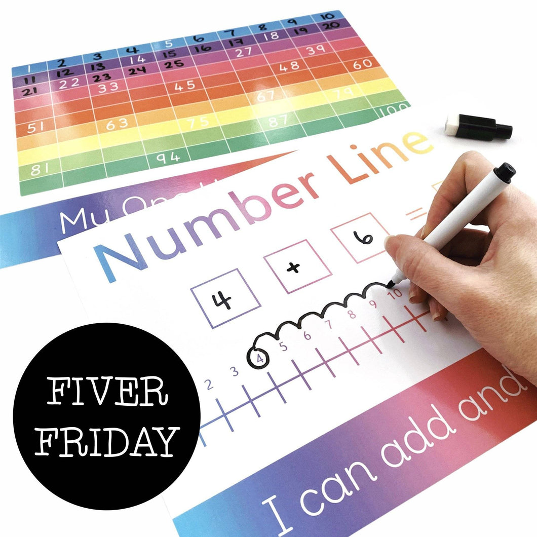 FIVER FRIDAY - 2 Pack Number Line & 100 Square Learning Mats