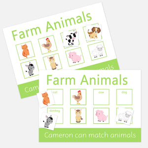 Farm Animals Learning mat 2 pack. Help your toddler match pictures and words with our velcro learning mat
