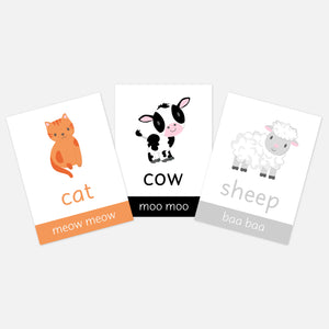 Farm Animal Flashcards for children and pre-schoolers. Toddler activities for learning