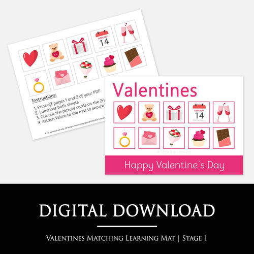 VALENTINES MATCHING LEARNING MAT:  Match the Valentines pictures to the pictures on your learning mat - A fun way for your child to learn about Valentine's Day and improve their cognative and fine motor skills.