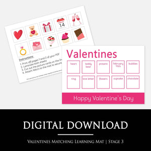 VALENTINES MATCHING LEARNING MAT:  Match the Valentines pictures to the words on your learning mat - A fun way for your child to learn about Valentine's Day and improve their cognative skills, fine motor skills and literacy skills.
