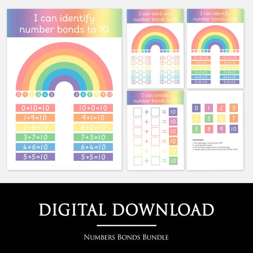NUMBER BONDS BUNDLE:  These colourful and visual learning mats uses a rainbow design to make understanding number bonds to 10 easy. Bundle includes 1 x Reference Learning Mat and 2 x Worksheets.