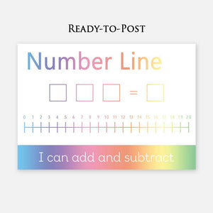 Number lines are key for children to develop a solid mental arithmetic strategy helping them add up and subtract with ease. A great tool for a visual learner.