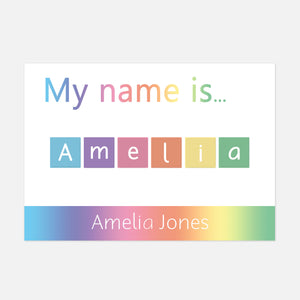 Personalised 'My name is...' Spelling Mat © (Bright Rainbow) | EYFS Learning Resources for Toddlers and Pre-School Children