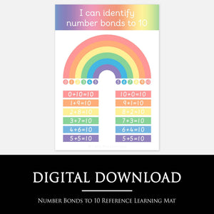 Number Bonds to 10 Reference Learning Mat - Printable Homeschool Resources by Little Boo Learning