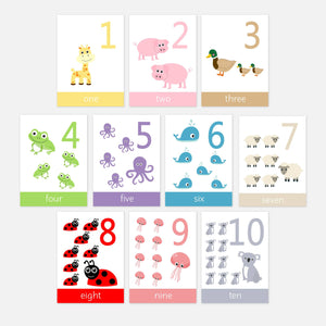 Number Flashcards 123 1-10 for children and pre-schoolers. Toddler activities and learning resources