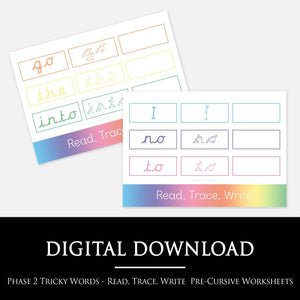 PRE-CURSIVE PHASE 2 TRICKY WORDS READ, TRACE, WRITE WORKSHEET:  Our bright, colourful worksheets make learning the Phonics phase 2 tricky words easy peasy! Simply print off, ready the tricky words, trace them and copy them freehand. This is great for both literacy and handwriting skills.