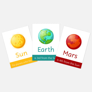 Space / Planets Flashcards. Flash cards for toddlers and pre-schoolers