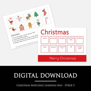 Christmas Matching Learning Mat - STAGE 3 | Digital Download