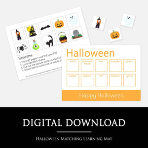 Halloween Matching Learning Mat - STAGE 3 | Digital Download