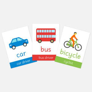 Transport flash cards for kids | EYFS toddler flashcards and learning activities