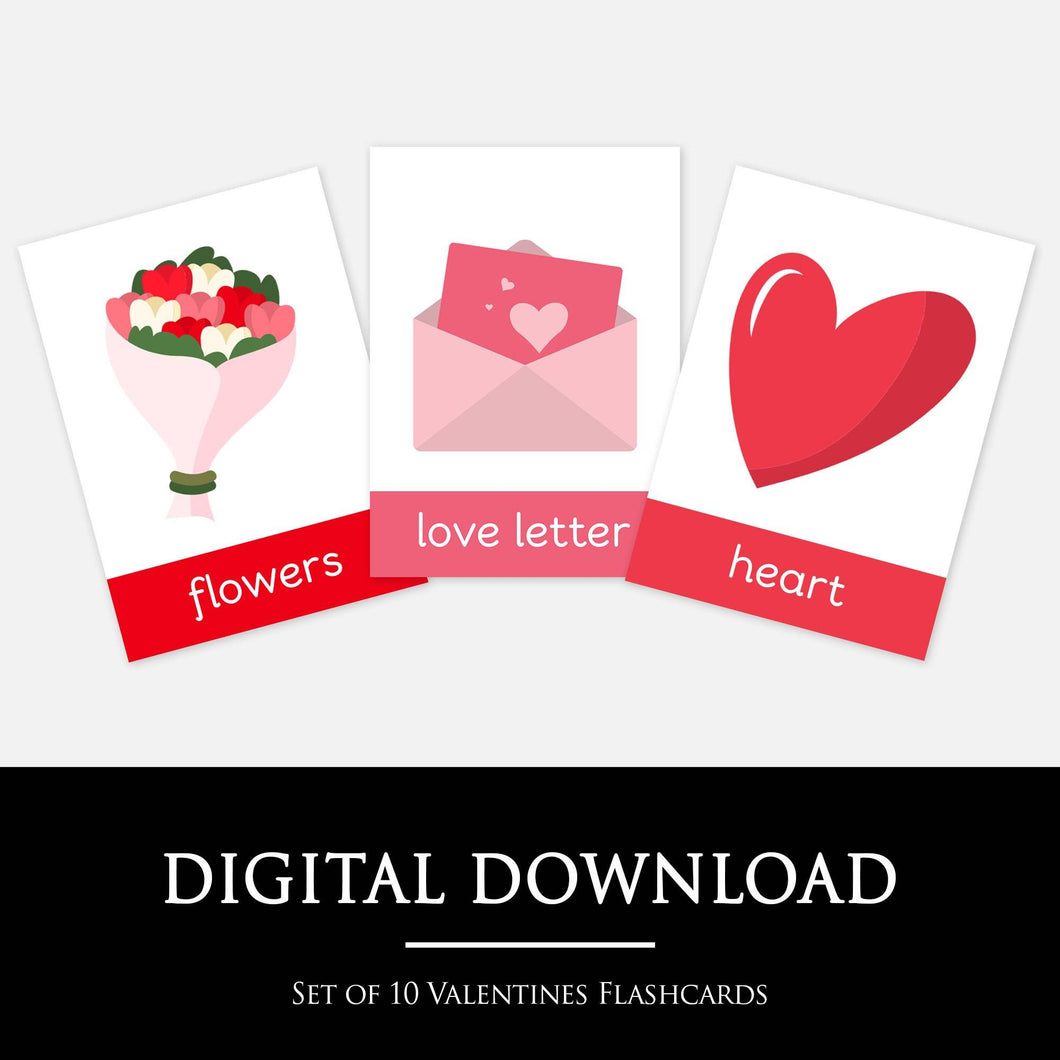 VALENTINES FLASHCARDS:  Set of 10 beautifully designed Valentines Flashcards - A fun way for your child to learn about Valentines.  Perfect for classroom displays, homeschool activities and incorporating into Valentines themed play and learn set ups.