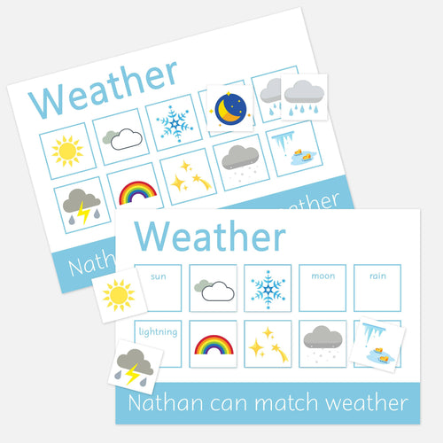 2 PACK WEATHER LEARNING MATS toddler preschool activities, fun and learning velcro mats