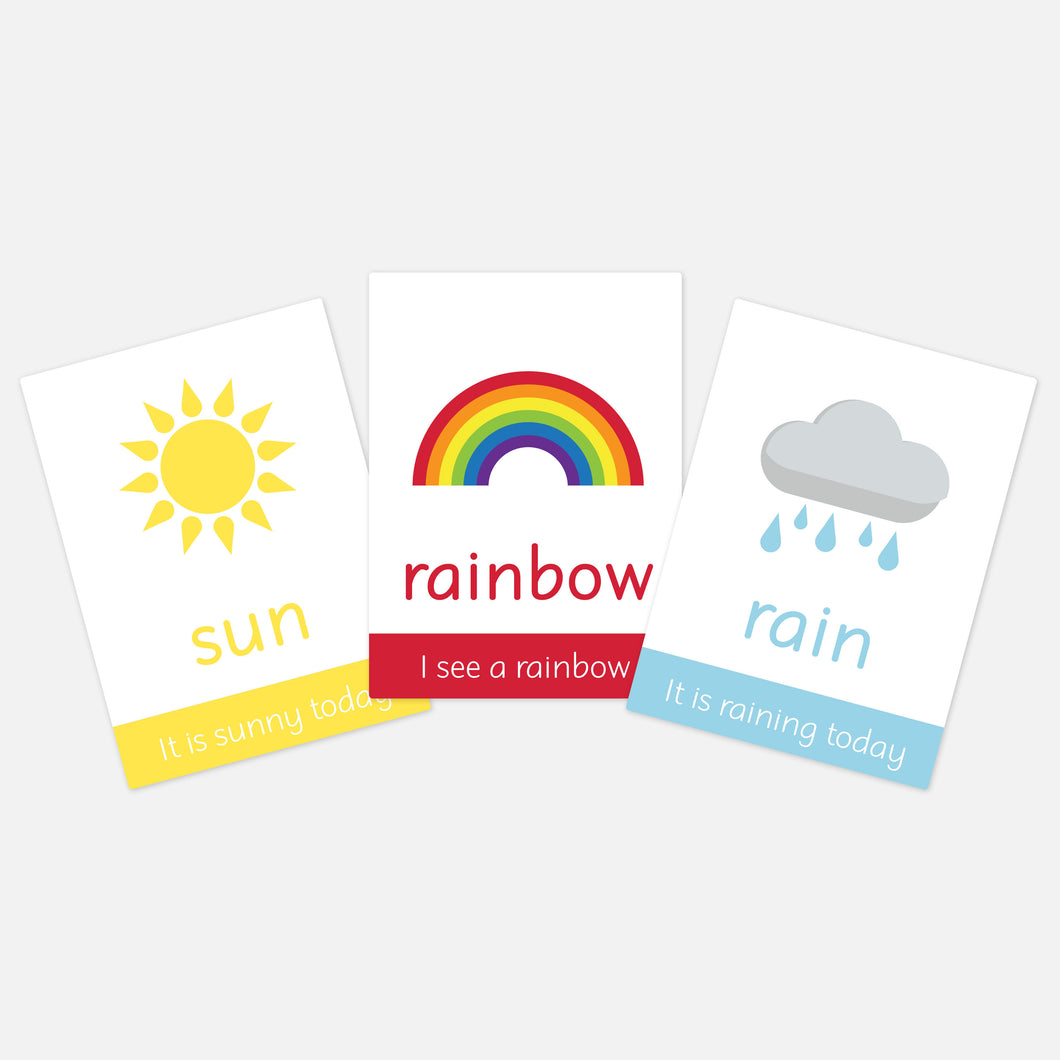 weather flashcards for toddlers. sun rain rainbow learning the elements