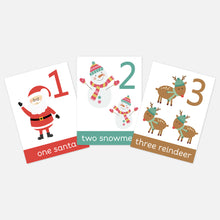 Christmas number flashcards for xmas homeschool activities and educational number learning