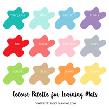 Lliwiau Welsh colours learning mat with velcro tabs for learning colours. toddler and preschool activities