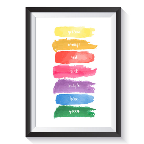 painted colours print | school, home or nursery decor and learning resources