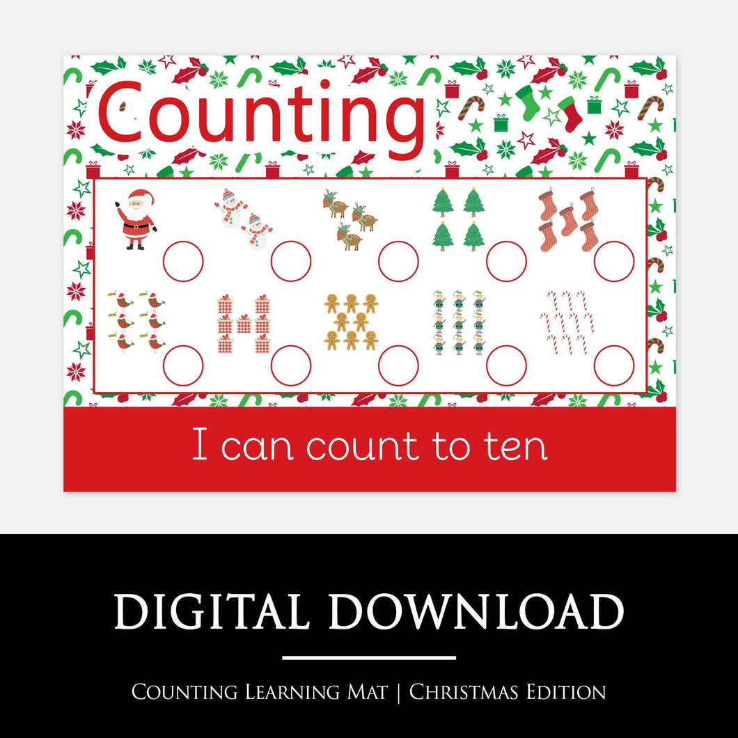 Christmas Counting Learning Mat | Printable resources by Little Boo Learning