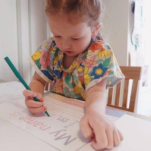 TRACE IT, COPY IT 'My Name is...' Pre-Cursive Font Handwriting Practice Learning Mat - WIPE CLEAN (Imperfect)