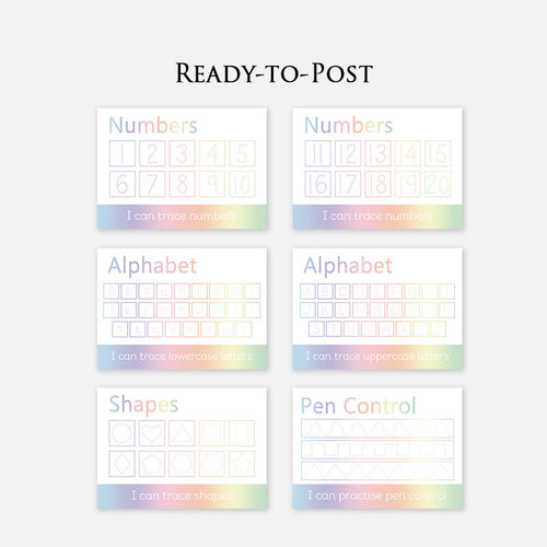 READY-TO-POST Wipe Clean Learning Mat  <br />(Set of 6 Learning Mats)  <br /> <br />Colour: Pastel Rainbow