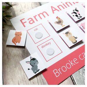 Farm Animals Learning mat. Help your toddler match pictures and words with our velcro learning mat