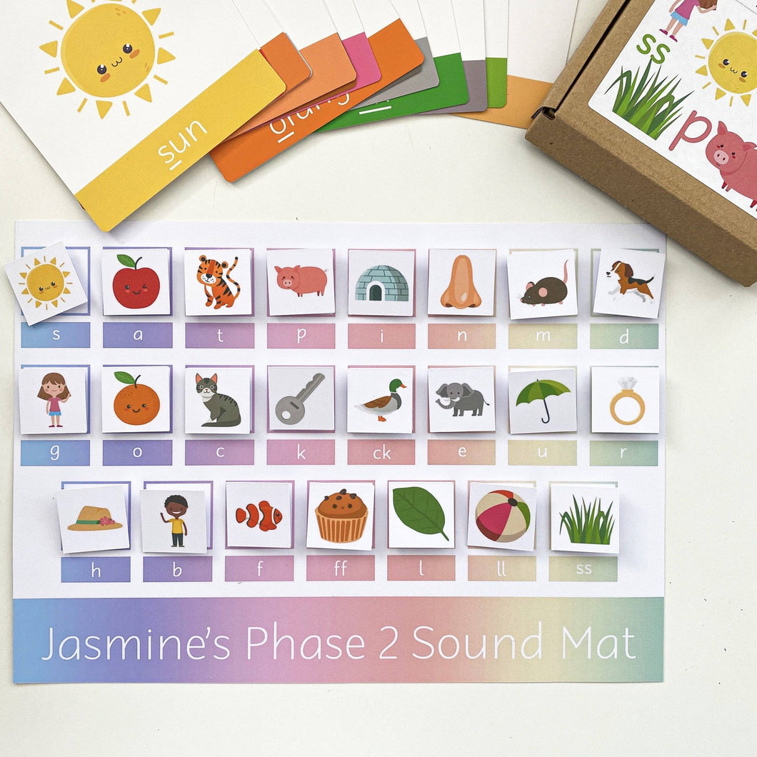 PERSONALISED Phonics Phase 2 Velcro Learning Mat <br /> <br /> More colours available