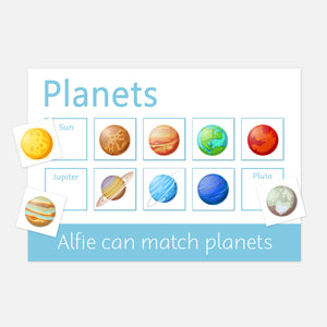 Planets learning mat for the little space enthusiast | toddler and pre-schooler learning resources