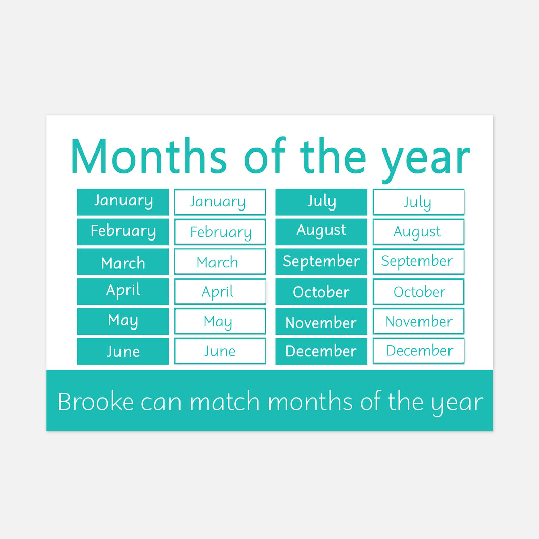 months of the year learning mat for toddlers and pre-schoolers. little boo learning. learn explore and have fun