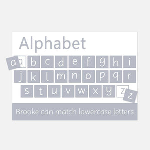 Personalised Alphabet Learning Mat Grey / Lowercase