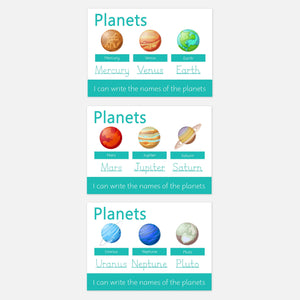Personalised Planets Learning Mat (WIPE CLEAN) - 3PK