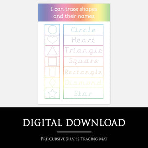 Pre-Cursive Shapes Tracing Learning Mat | Digital Download