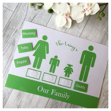 our family learning mat with velcro tabs to learn all about family for toddlers and pre-schoolers. fun learning activities