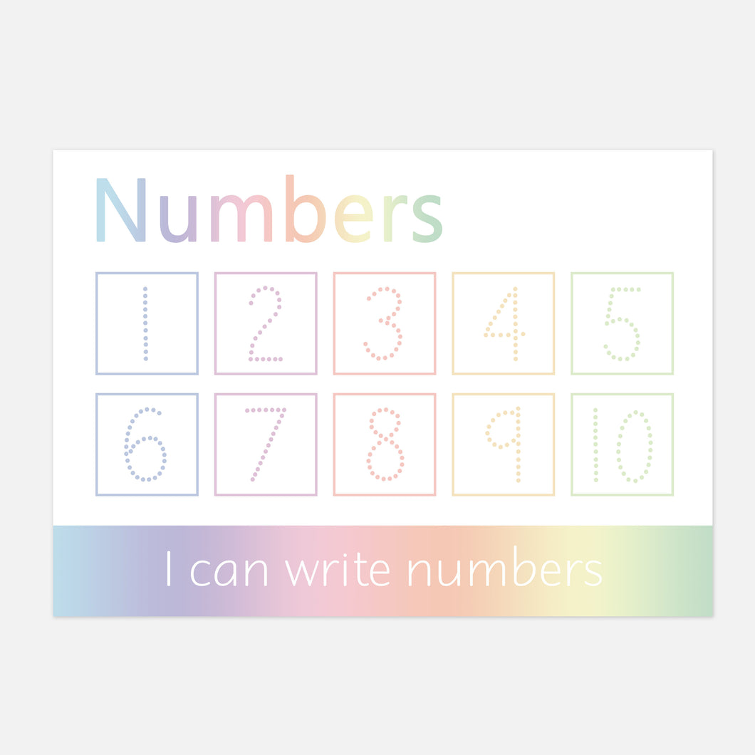 Numbers 1-10 Handwriting Practice Learning Mat - WIPE CLEAN (Imperfect) by Little Boo Learning