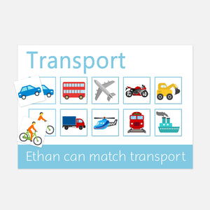 V1 Learning | Mat Transport Learning mat for children who love transprt. Match the velcro pictures to the correct square on the mat