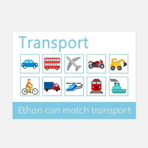 Transport Learning mat for children who love transprt. Match the velcro pictures to the correct square on the mat