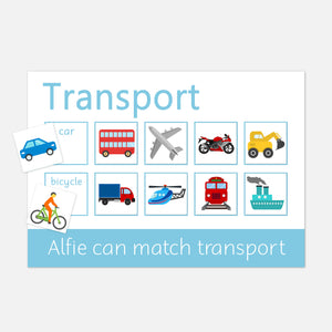 V2 Learning | Mat Transport Learning mat for children who love transprt. Match the velcro pictures to the correct square on the mat