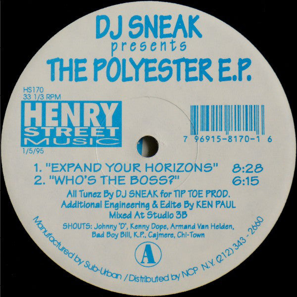 DJ Sneak ‎– The Polyester E.P. (HS170)