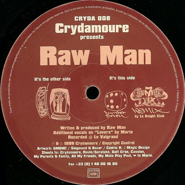 Raw Man ‎– Lovers / Number Seven / Number 7 (Remix) (CRYDA008)
