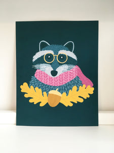 Reading Racoon Print