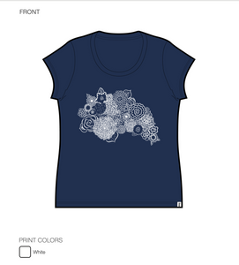Bloom Tshirt Cap Sleeve in Navy Blue