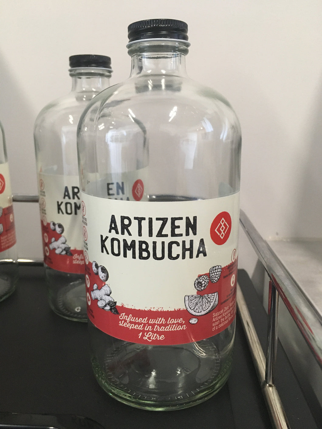 Empty Artizen Kombucha 1 Litre Glass Bottles