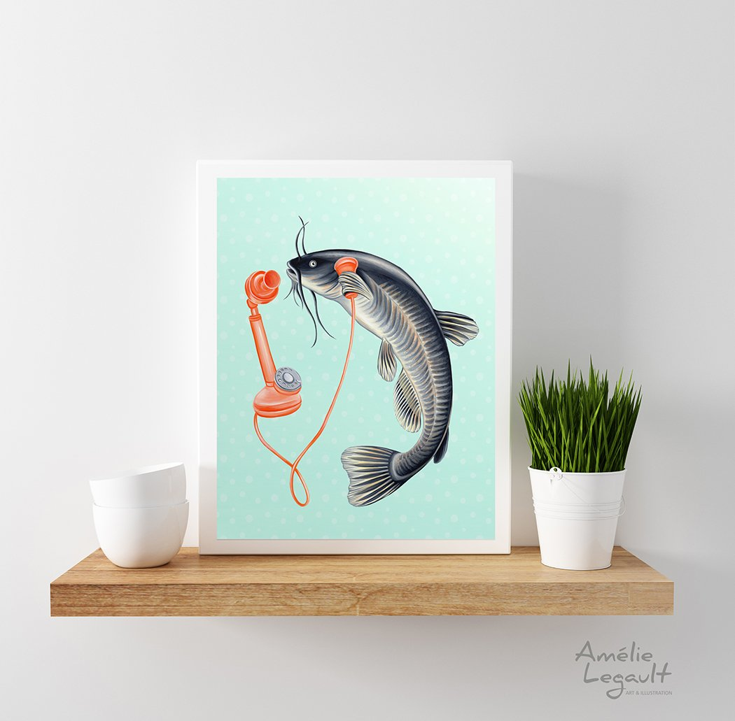 Animals on the Phone Prints - Sea