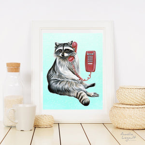 Animals on the Phone Prints - Land