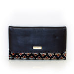 Leather Fleur de Lis Clutch