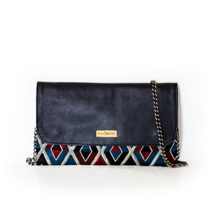Leather Mosaic Clutch