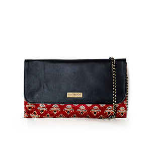 Leather Red Fleur de Lis Clutch