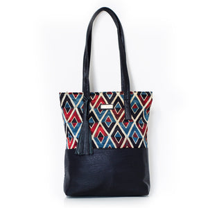 Vegan Leather Mosaic Tote